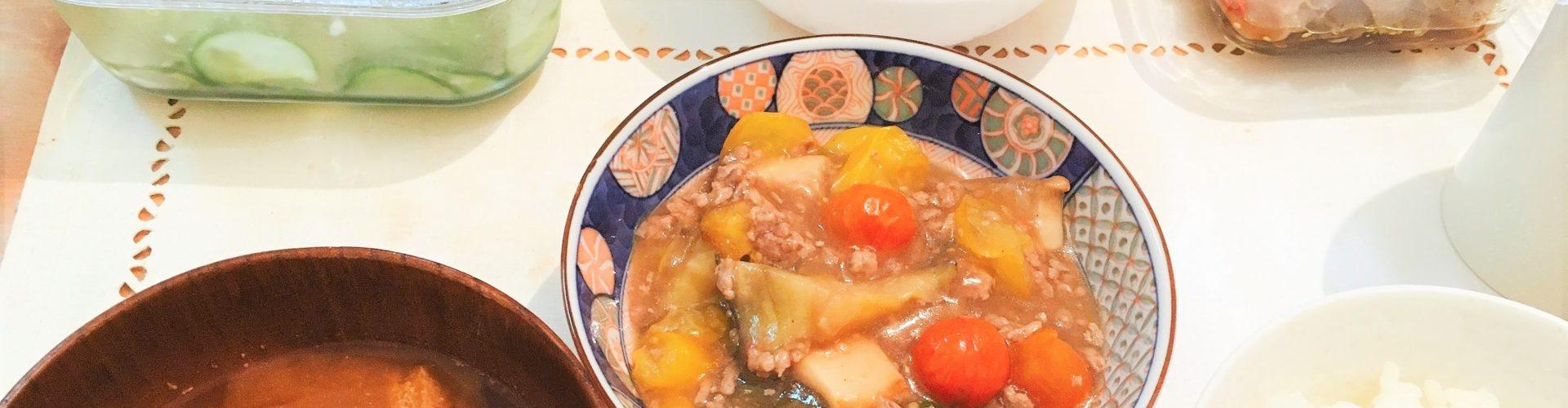 料理「夏野菜のあんかけ・砂肝のポン酢あえ」