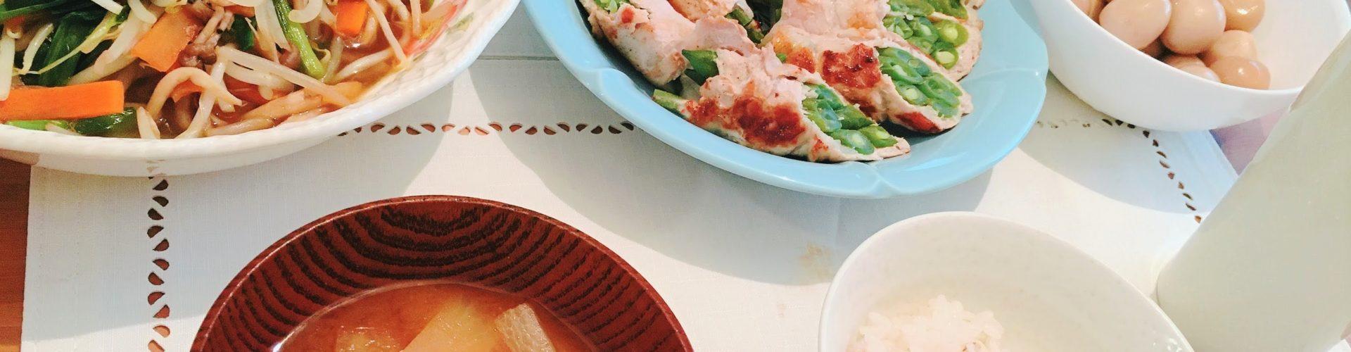 料理「いんげんの豚バラ巻き&野菜炒め&味付うずら卵」