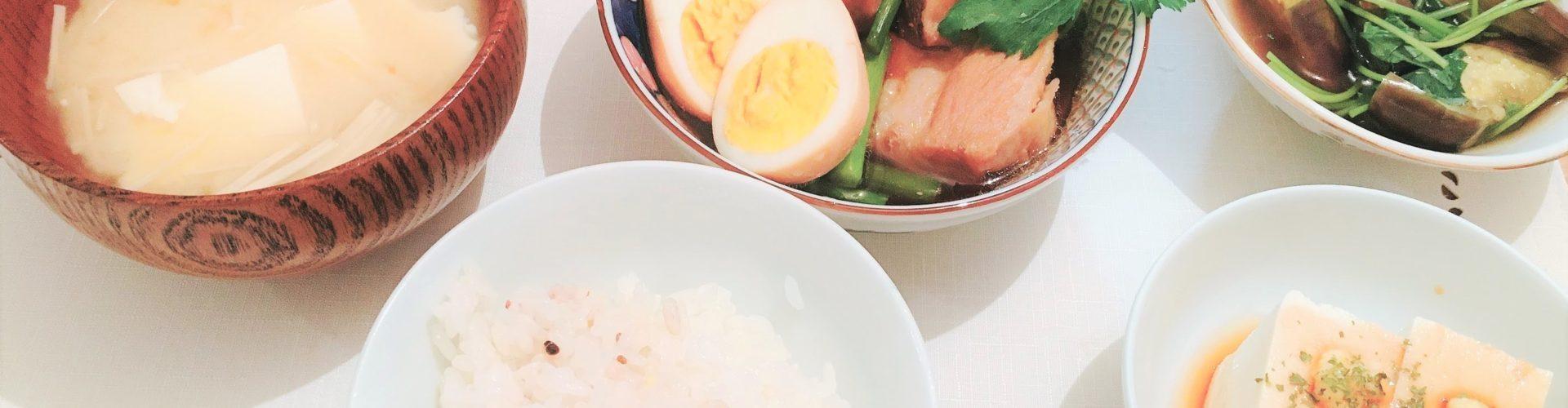 料理「豚の角煮&なすの煮びたし」