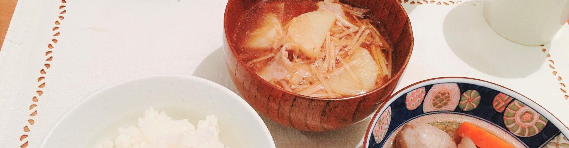 料理「里芋の煮物&山芋とえのきの汁物」